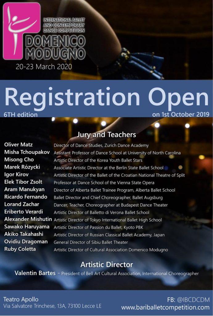 6th International Bari Ballet and Contemporary Dance Competition Domenico Modugno