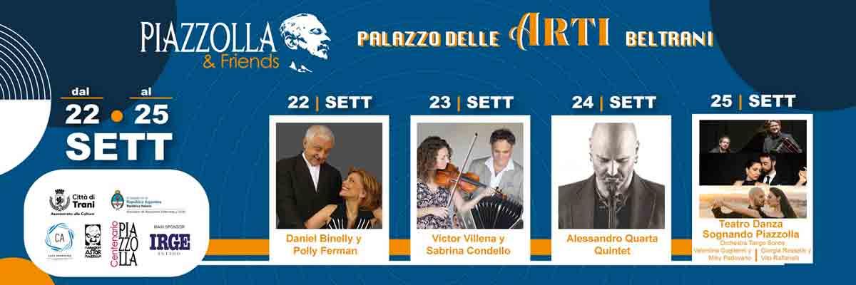 Piazzolla&Friends dal 22 al 25 settembre a Palazzo delle Arti Beltrani a Trani